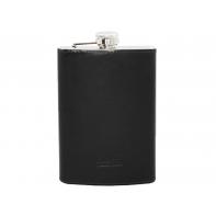 Skórzana elegancka piersiówka Orsatti 240 ml, czarna