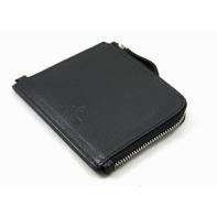 Skórzany mały portfel męski na suwak Orsatti czarny