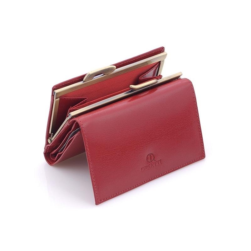 1224a3b8bd641 Portfel damski Orsatti D-02C w kolorze czerwonym, bogate wyposażenie, skóra